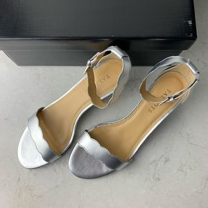 NEW Talbots Pila Scallop silver strappy heels